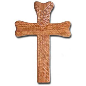 Olive Wood Hope Wall Cross - Fully Engraved