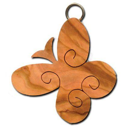 Olive Wood Scrolled Butterfly Keychain
