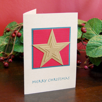 3 Gold Stars Handmade Card