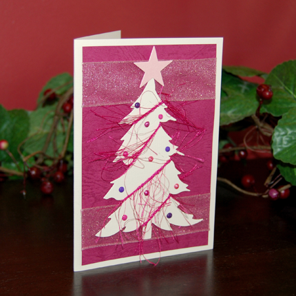 Pink Tree Handmade Card
