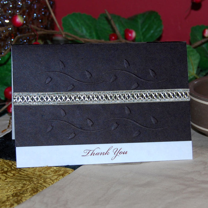 'Thank You' Handmade Card (Brown)