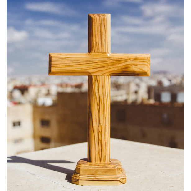 Olive Wood Latin Cross with Stand