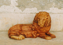 Load image into Gallery viewer, Laying Lion and Lamb Olive Wood Carving