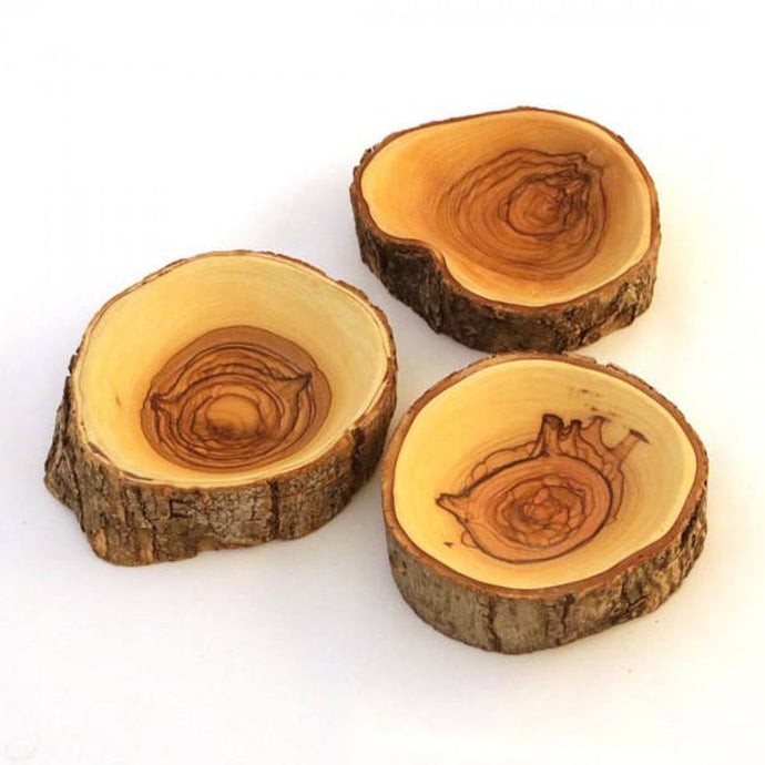 Natural Bark Olive Wood Dish - Circular