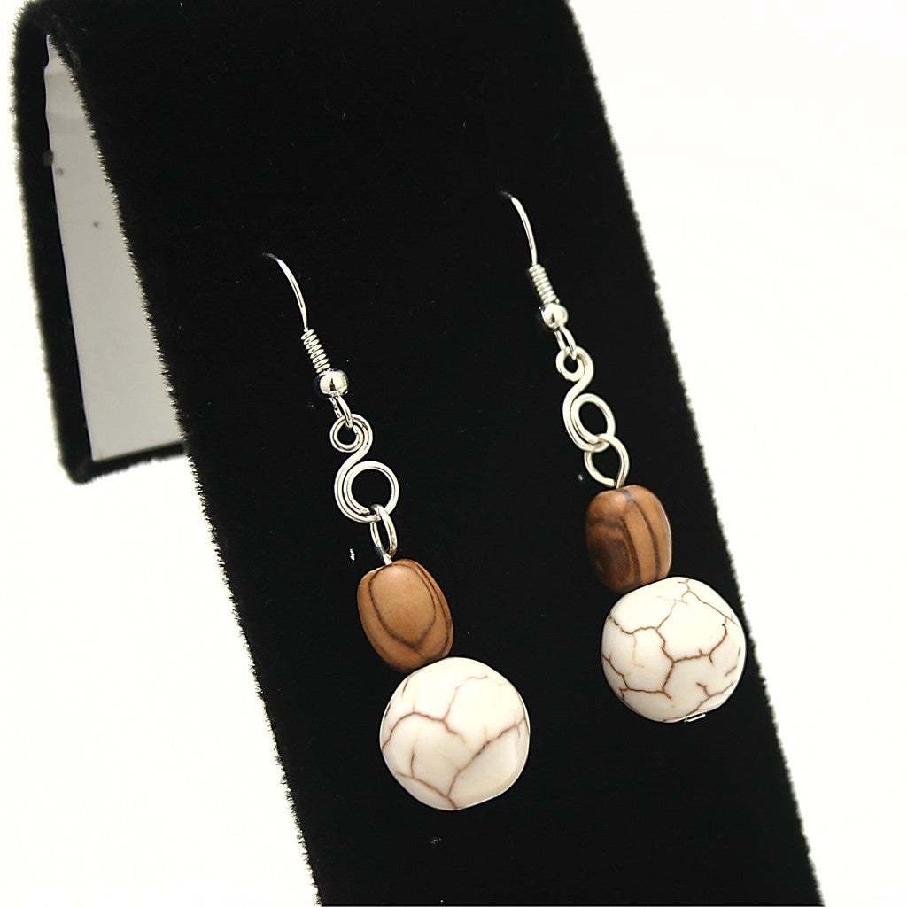 Sea Foam Howlite White Turquoise Earrings