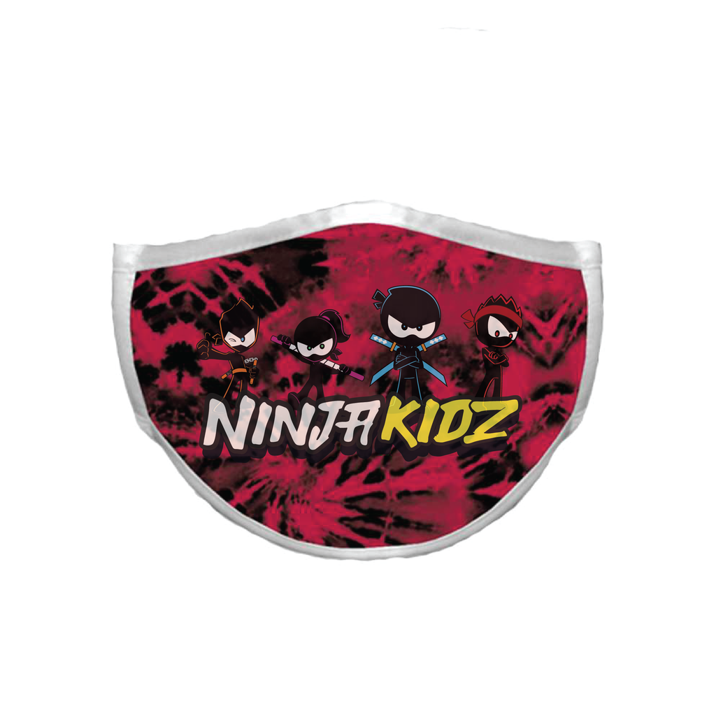 Ninja Kidz Face Mask - Red Tie-Dye Team ©