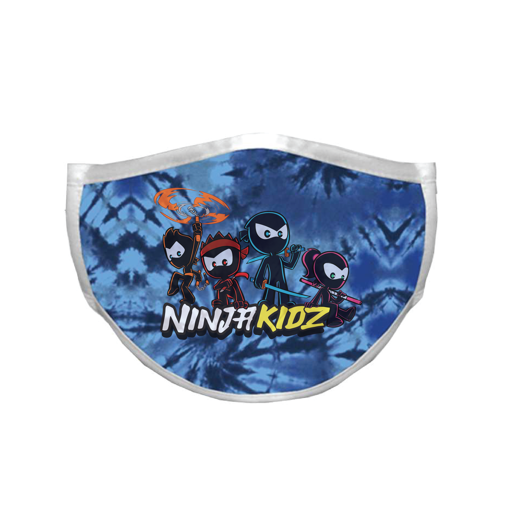 Ninja Kidz Face Mask - Blue Tie-Dye Team ©