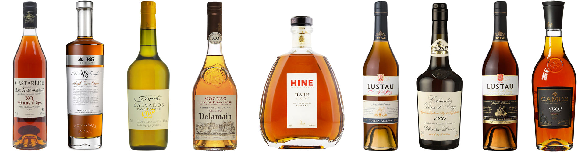 Assorted Bottles of Brandy including Cognac, Armagnac and Calvados