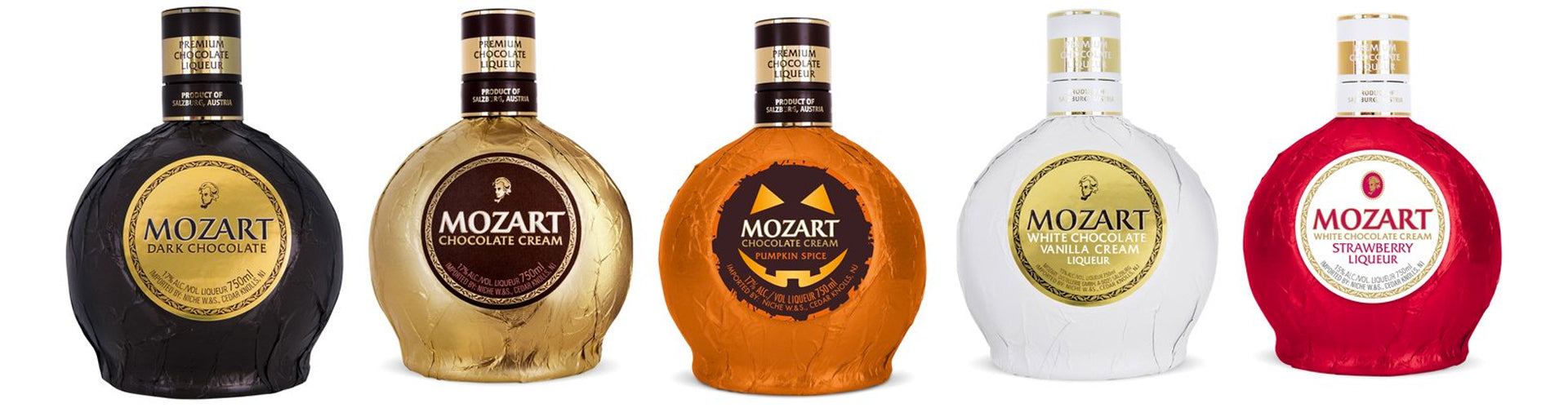 A range of Mozart Chocolate Cream Liqueurs from Austria