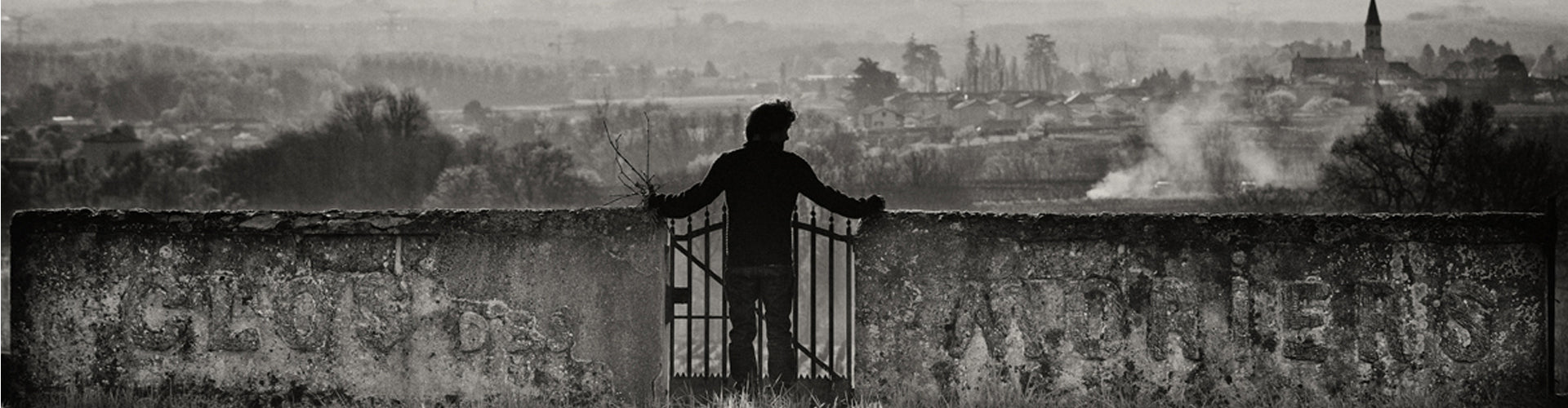 Black and White Image of Cédric Chignard looking over the Moriers lieu-dit in Fleurie