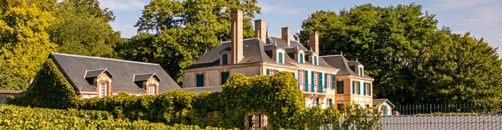 The house of Champagne Taittinger amidst vineyards