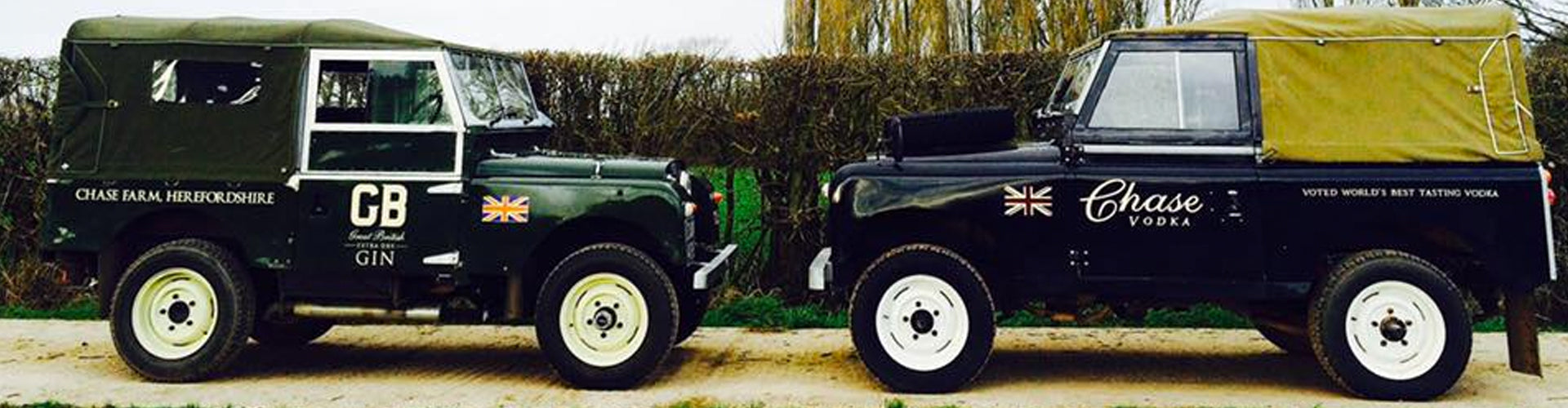 Land Rover Defenders in Chase Distillery Gin & Vodka Livery
