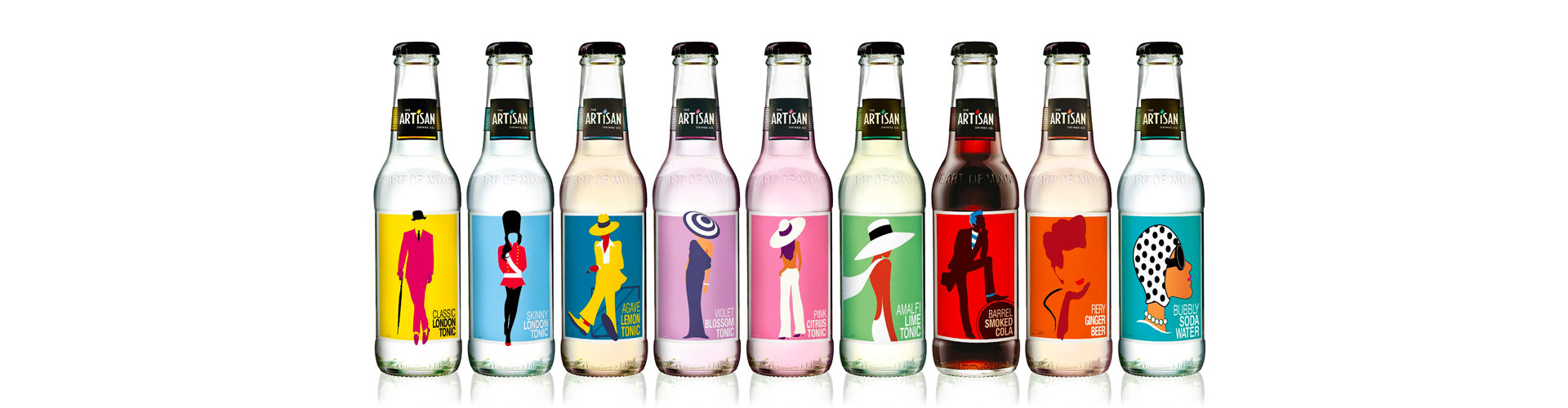 The Artisan Drinks Co. Line-Up of 9 Mixers in Bottle