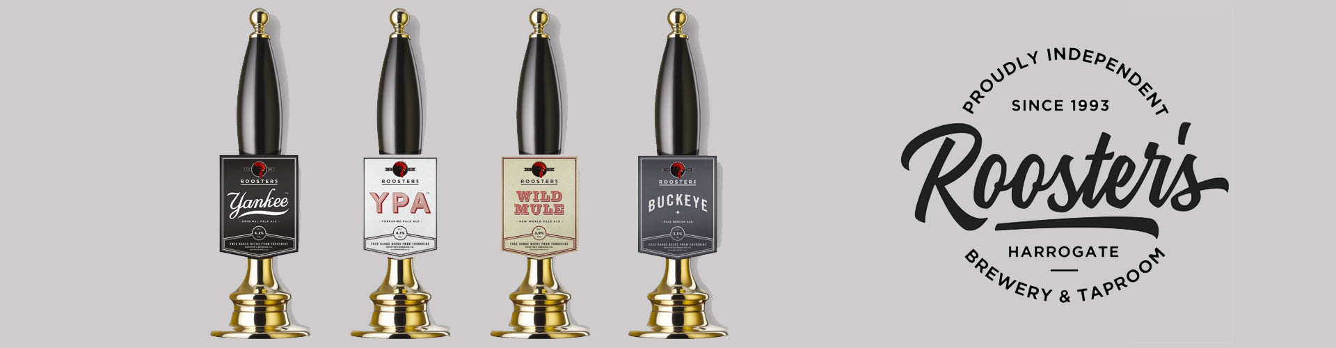 Four Angram Beer Pumps with Rooster's Beer Pump Clips Attached
