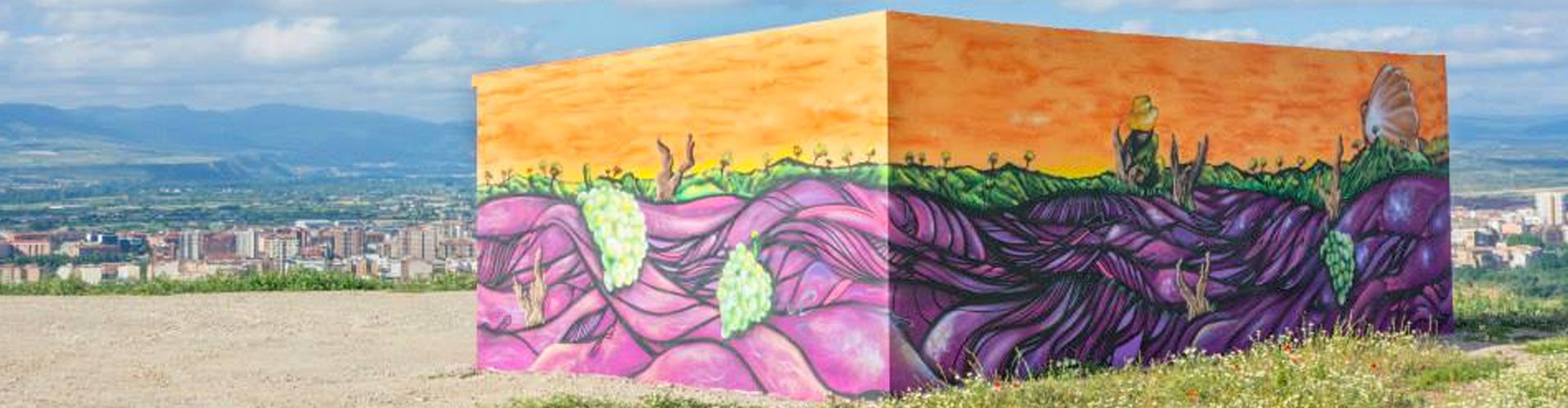 Artwork by Chavolar on building at the Alto Cantabri Vineyard