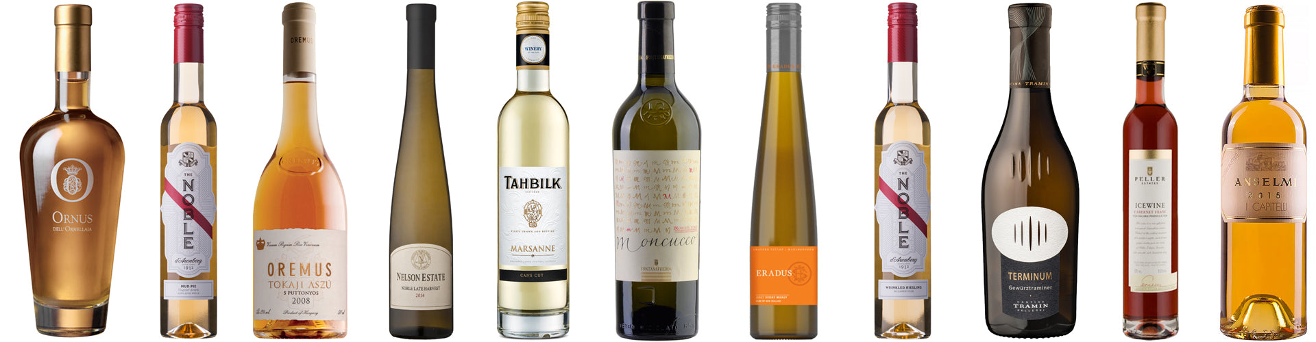 Collection of Dessert Wines Bottles from Around the World