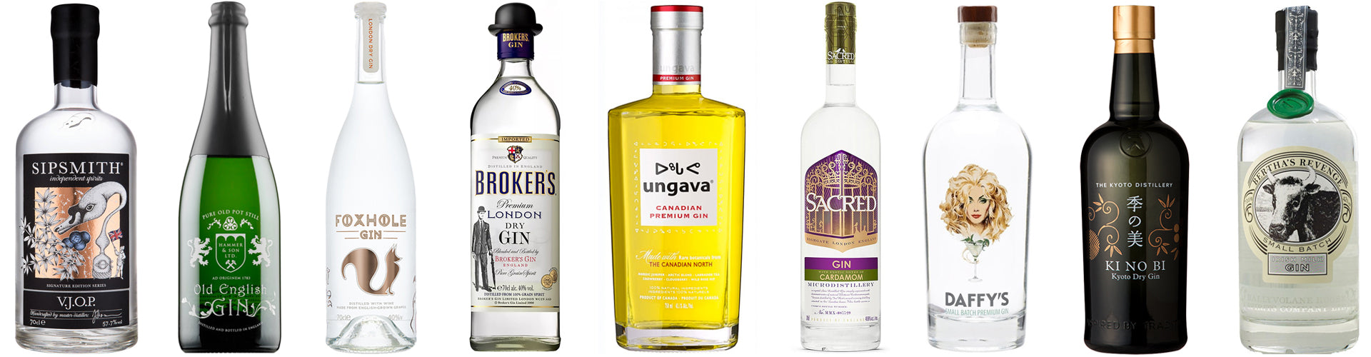 Collection of Gin Bottles from Around the World