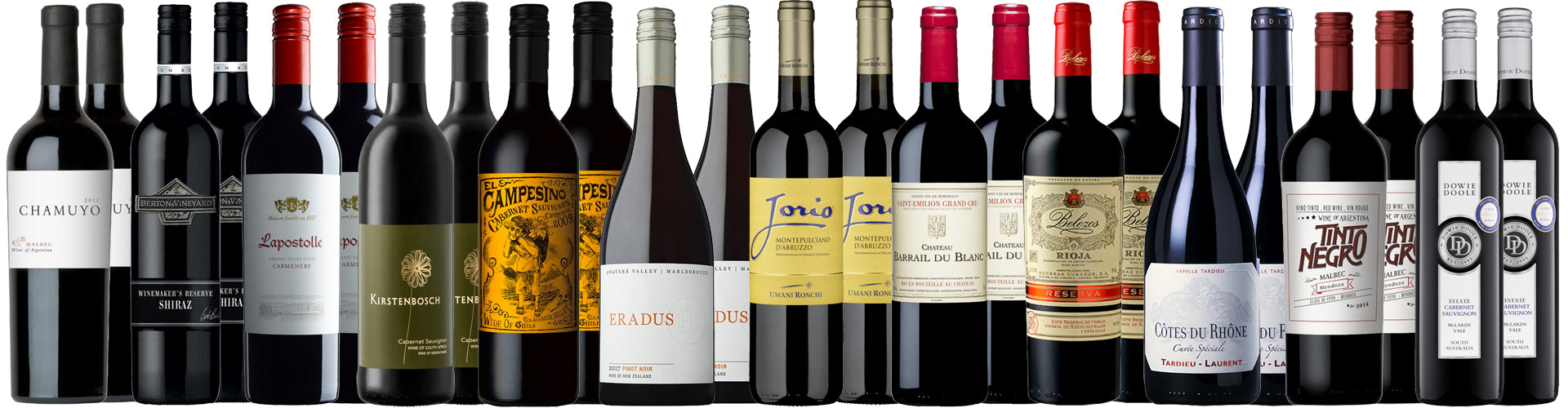 Mixed Collection of Red Wine Styles and Types
