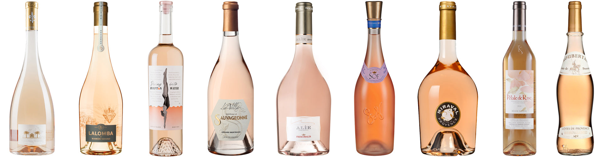 A Collection of Rosé Wine Bottles from Provence, Spain and Italy