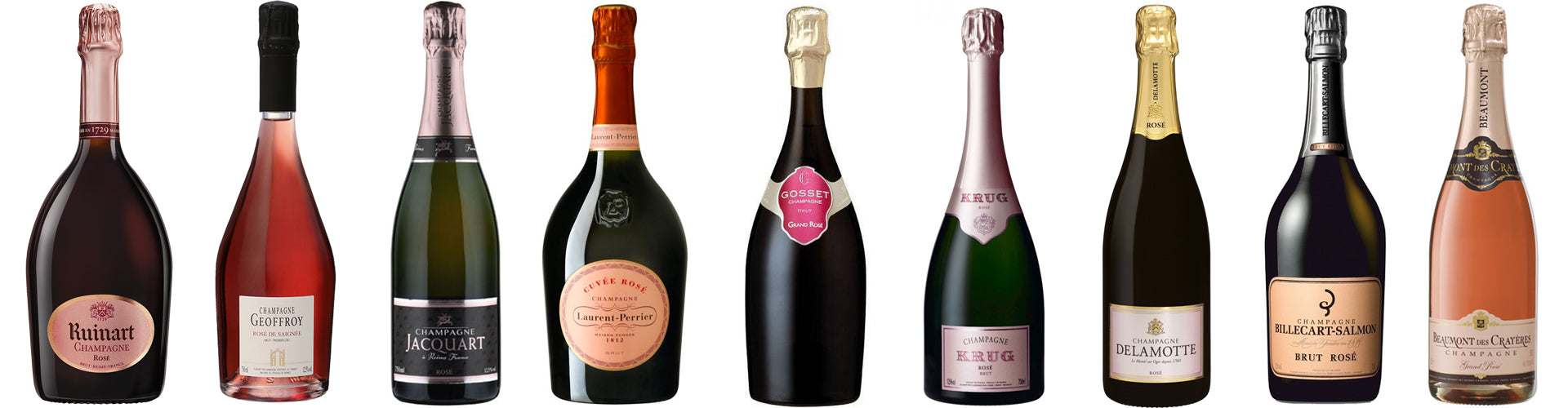 Collection of Assorted Rosé Champagne Bottles