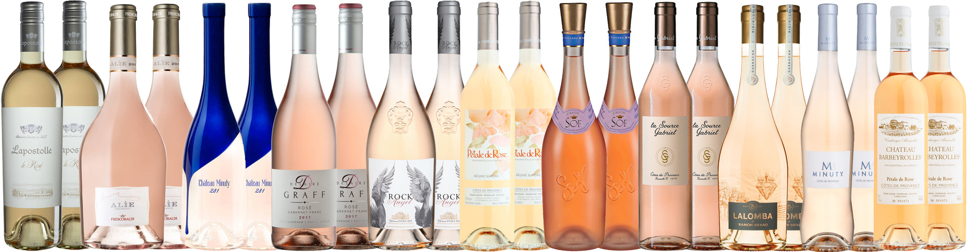 Assortment of Rosé wine bottles