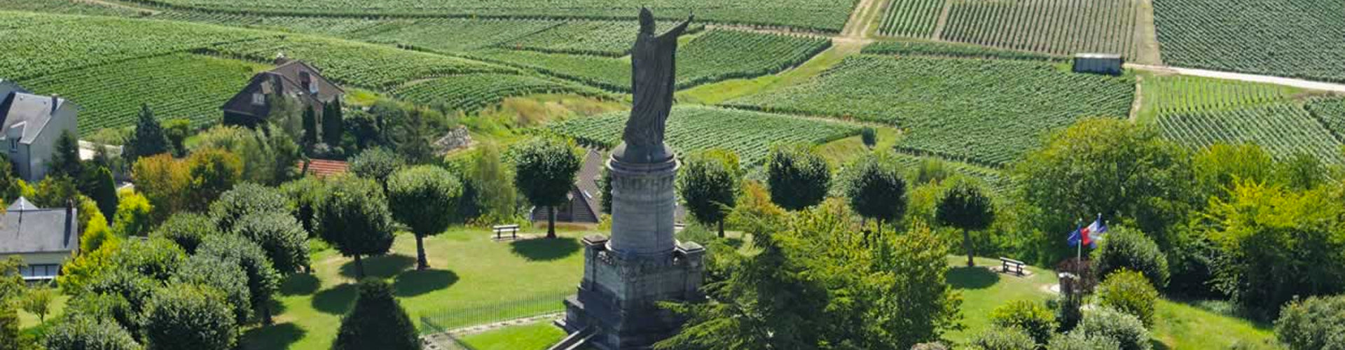 Statue of Pope Urban II Ovelooking Vines in Chatillon sur Marne