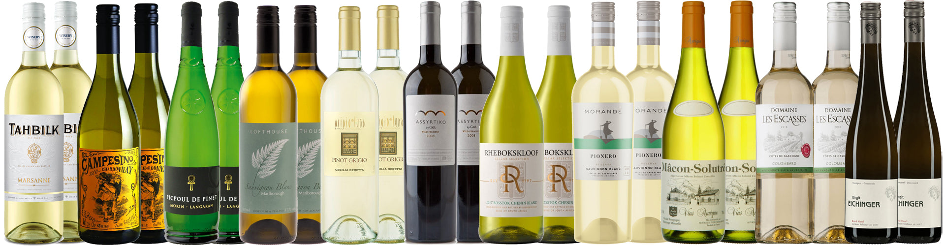 Collection of White Wine Bottles in various styles and grape varieties