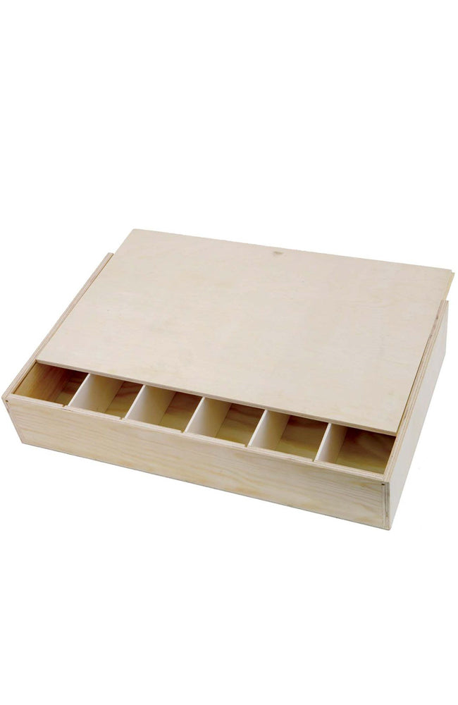 Six Bottle Wooden Wine Box Lay Flat With Sliding Lid