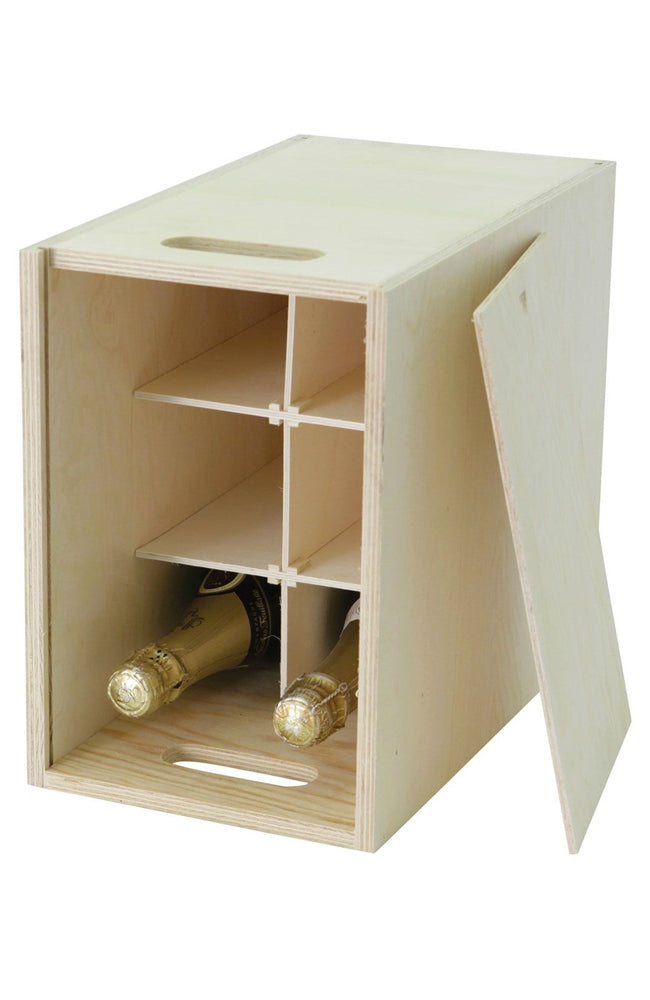 Six Bottle Wooden Wine Hamper Gift Box with Sliding Lid