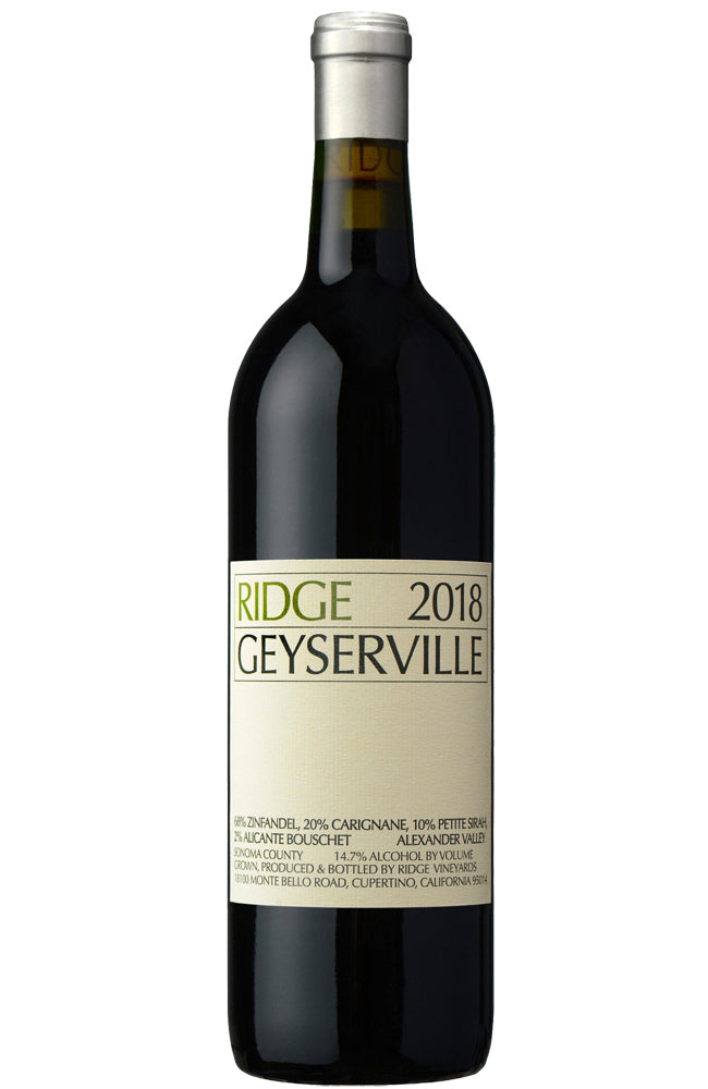 Ridge Vineyards Geyserville 2018 Bottle