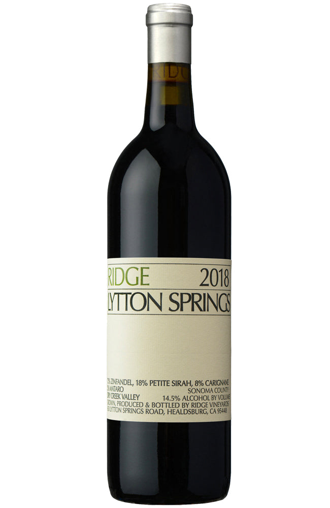 Ridge Vineyards Lytton Springs 2018 Bottle