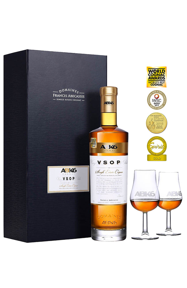 ABK6 VSOP Single Estate Cognac Gift Box & @ Glasses