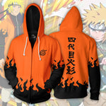 Naruto Hoodies - Minato Namikaze Hokage Orange Zip Up Hoodie