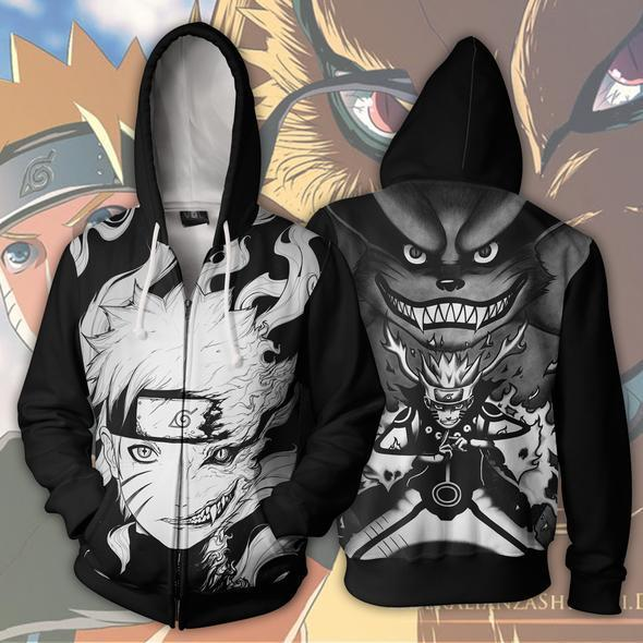 Naruto Hoodies - Naruto Kurama 9 Tails Black And White Hoodie