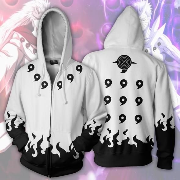 Naruto Hoodies - Six Paths White Zip Up Hoodie