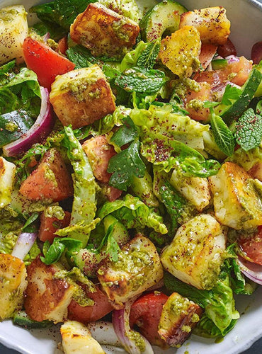 Fattoush Salad with Halloumi and Coriander Pesto Dressing
