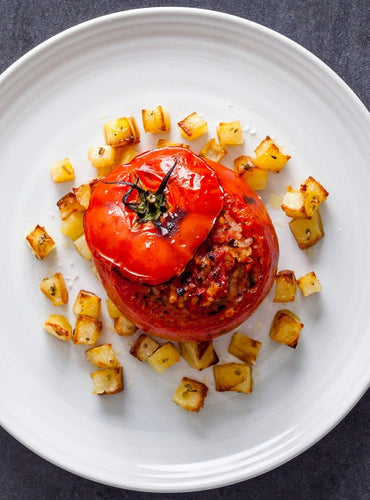 Stuffed Tomatoes with Rice & Potatoes by Anna Del Conte