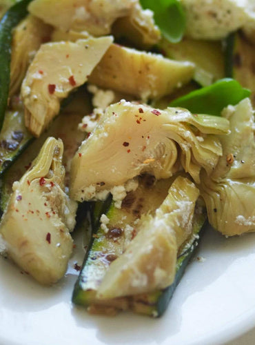 Griddled Courgette with Ricotta and Artichoke
