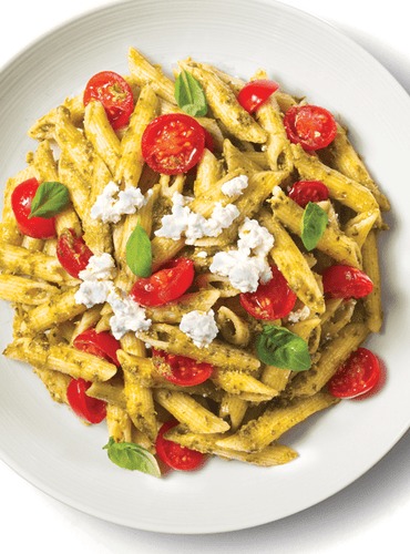 Penne with Pesto, Cherry Tomatoes & Ricotta