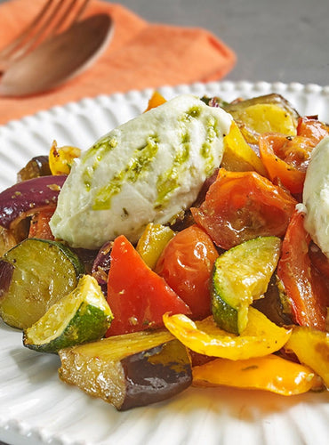 Pesto Roasted Vegetables with Vegan Cream Cheese