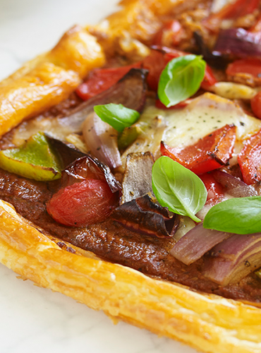 Roasted Mediterranean Vegetable Tart with Sun-Dried Tomato Pesto