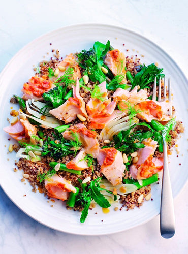 Salmon and Fennel Quinoa Salad with Fiery Chilli Pesto