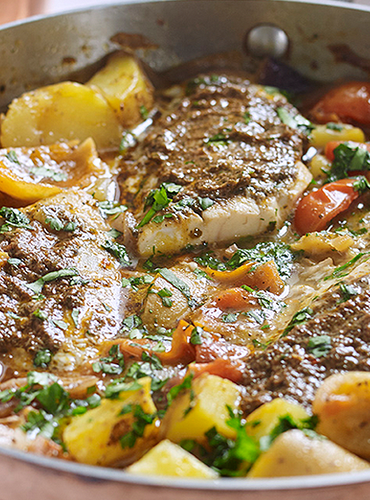 Fish Tagine with Olive Pesto and Preserved Lemons
