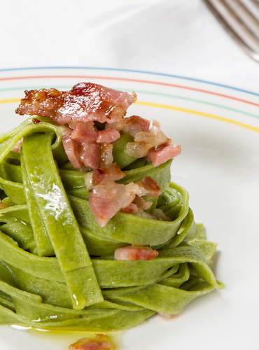 Spinach Tagliatelle with Crispy Jowl and Cream Cheese