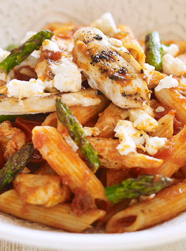 Whole Cherry Tomato and Basil Pasta with Griddled Chicken, Asparagus and Goat's Cheese