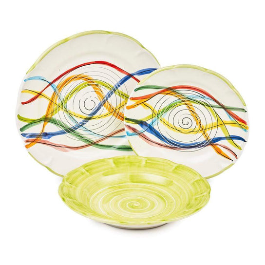 Vietri Place Setting with Bowl, Plate and Side Plate by Sol'Art: Leaf Green