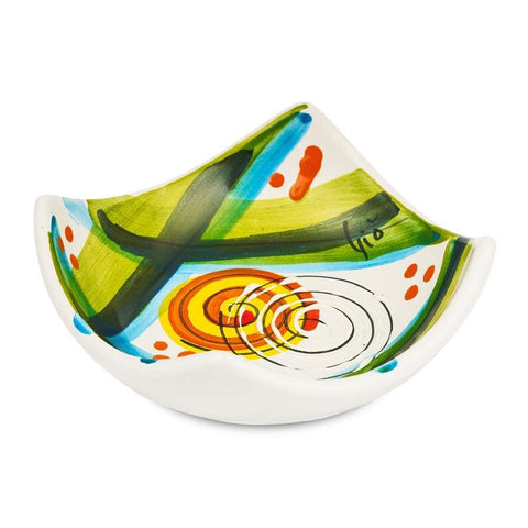Small Square Dish 10cm by Sol'Art with Yellow and Orange Spiral