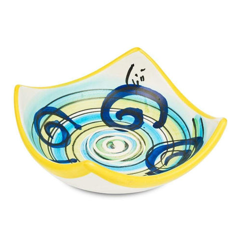 Small Square Dish 10cm by Sol'Art with Dark Blue Spirals