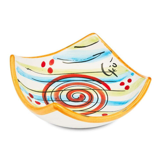 Small Square Dish 10cm by Sol'Art with Large Red Spiral