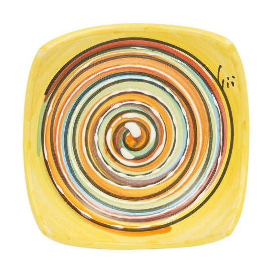 Small Square Dish 10 cm by Sol'Art in Yellow with Multi-Coloured Spiral